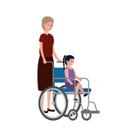 cute grandmother with granddaughter in wheelchair vector illustration design Illusztráció
