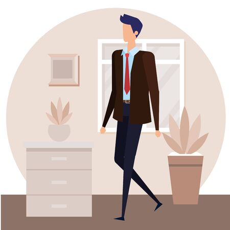 elegant businessman worker in the house corridor vector illustration design Stock Illustratie