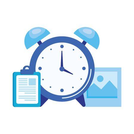alarm clock with checklist icon vector illustration design Standard-Bild - 128780342