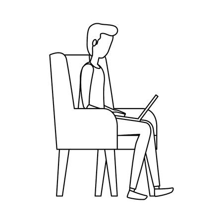 elegant businessman using laptop in the sofa vector illustration design