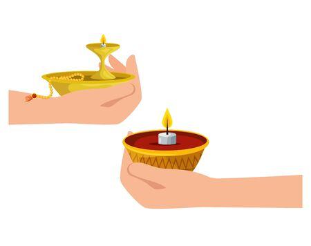 hands with ramadan kareem candle decorative vector illustration design