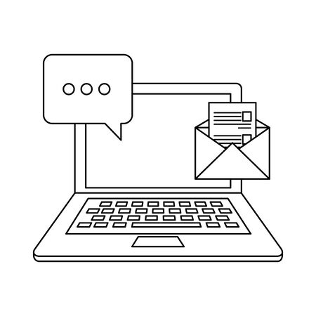 laptop computer with envelope email vector illustration design