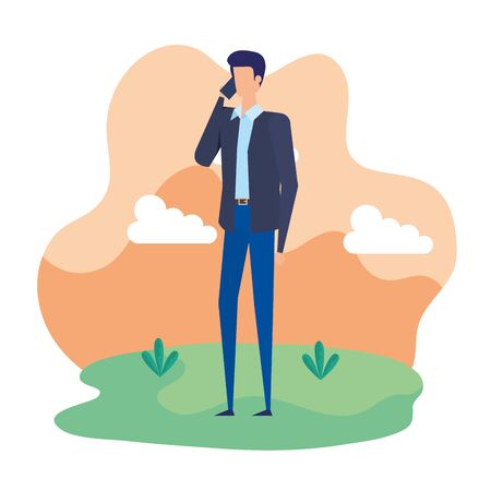 businessman worker calling with smartphone in the camp vector illustration design Stock Illustratie
