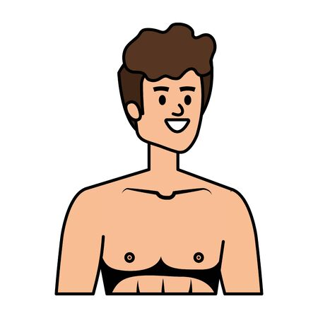 young man shirtless avatar character vector illustration design Banque d'images - 128773978
