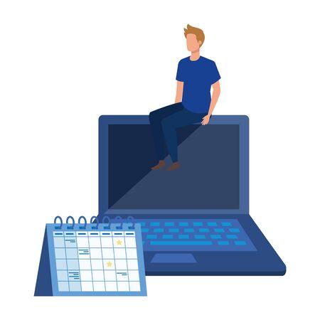 young man with laptop character vector illustration design Ilustração