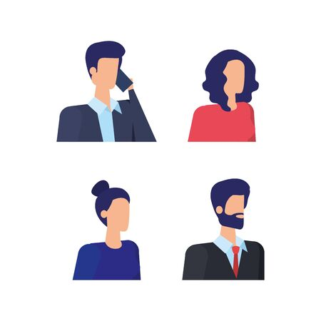 set of elegant businesswomen and businessmen with smartphone over white background, vector illustration Stock Illustratie