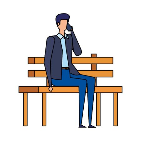 businessman calling with smartphone seated in the park chair vector illustration Stock Illustratie