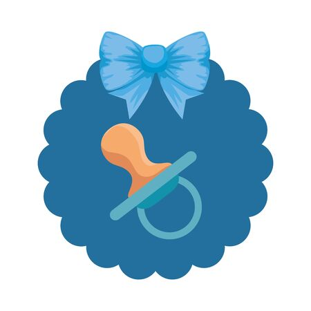baby shower card with pacifier vector illustration design