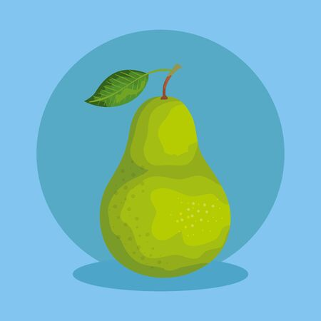 delicious pear healthy fruit nutrition over blue background, vector illustration Иллюстрация