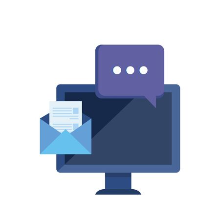 desktop computer with envelope mail vector illustration design Illusztráció