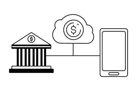smartphone bank transaction money cloud storage online payment vector illustration Illusztráció