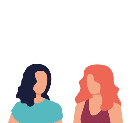 beautiful and young women characters vector illustration design Illusztráció