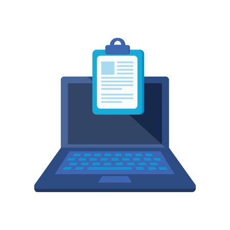checklist clipboard with laptop computer vector illustration design