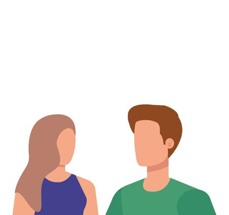 young lovers couple avatars characters vector illustration design Stock Illustratie