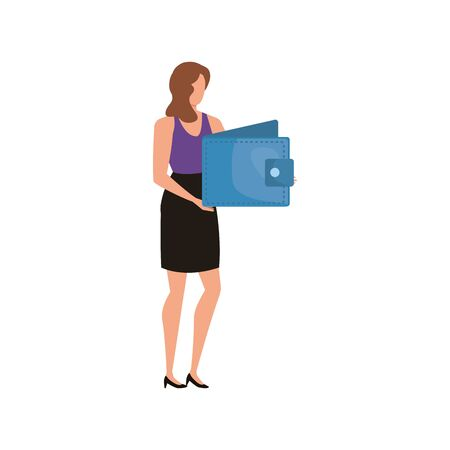 young woman with wallet money character vector illustration design