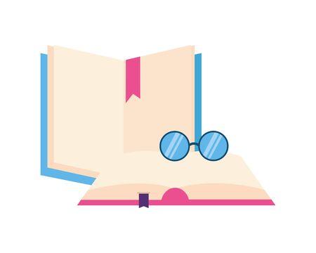 open books with glasses icon vector illustration design Stock Illustratie
