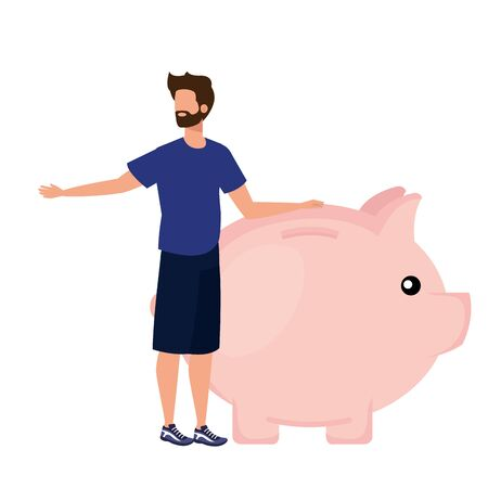 young man with piggy savings character vector illustration design
