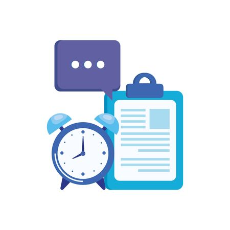 alarm clock with checklist icon vector illustration design Standard-Bild - 128796896