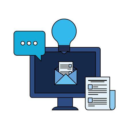 desktop computer with paper document vector illustration design
