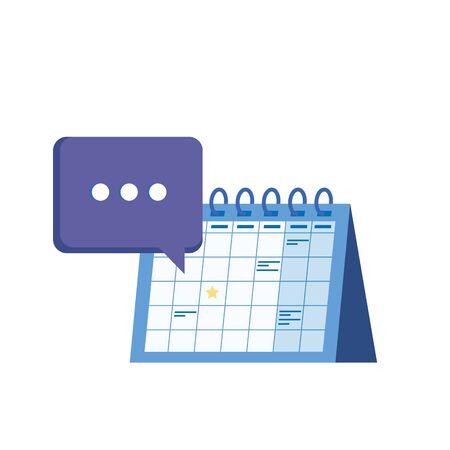 calendar reminder date with speech bubbles vector illustration design Illustration