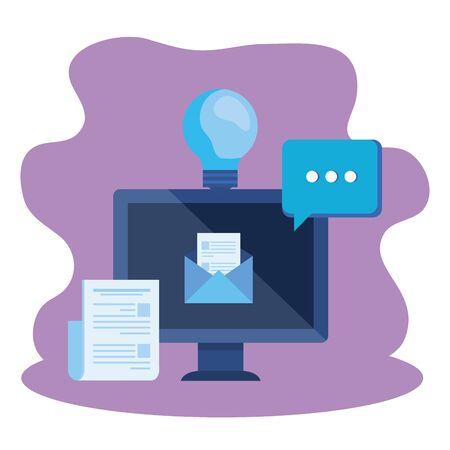 desktop computer with envelope mail vector illustration design 일러스트