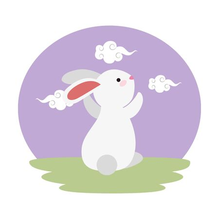 cute and little rabbit in the field character vector illustration design
