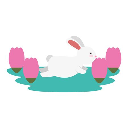 cute and little rabbit in roses garden scene vector illustration design