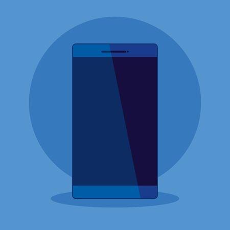 smartphone technology to business office strategy over blue background, vector illustration Standard-Bild - 128808413