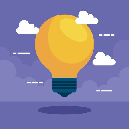 bulb idea with clouds to business strategy over purple background, vector illustration Standard-Bild - 128804292