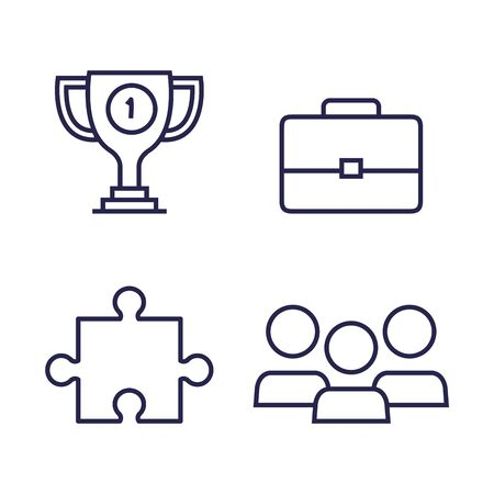 set of cup prize with suitcase and puzzle with users over white background, vector illustration Standard-Bild - 128820574