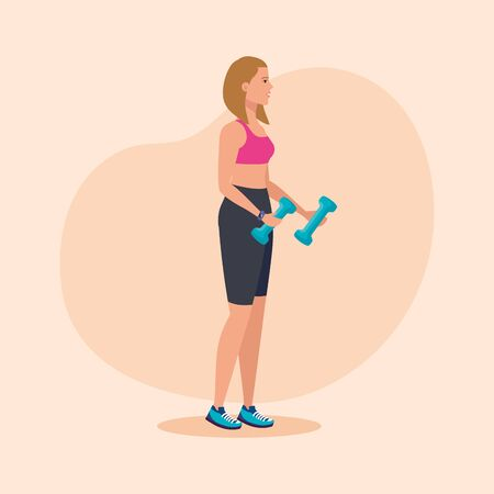 fitness woman with dumbbells to practice sport over pink background, vector illustration Ilustração