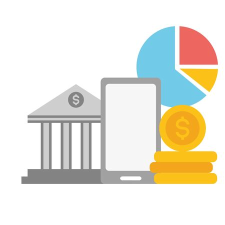 smartphone bank money report online payment vector illustration Imagens - 128808423