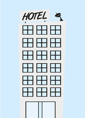 cute hotel cartoon over blue background. vector Illusztráció