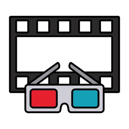 cinema glasses and movie tape isolated icon vector illustration design Stock Illustratie