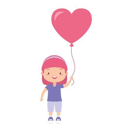 happy girl with balloon heart love vector illustration Stock Vector - 128810469