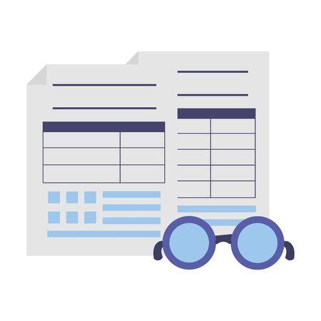 tax payment documents paper eyeglasses vector illustration Ilustração