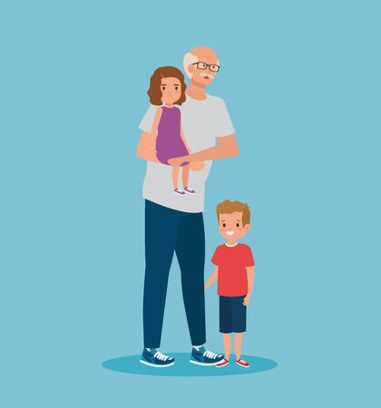 cute grandfather with girl and boy kids over blue background, vector illustration Ilustração
