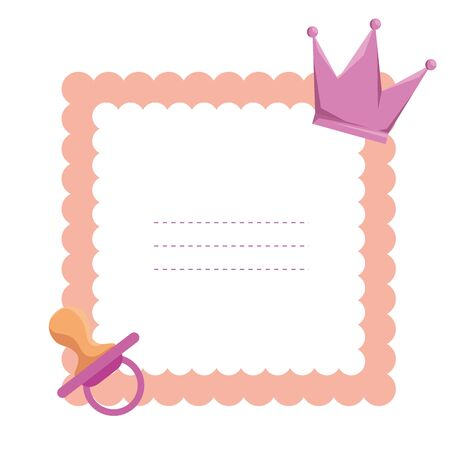 baby shower card with crown vector illustration design