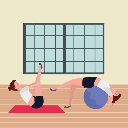 girls couple practicing pilates with balloon in the gym vector illustration design