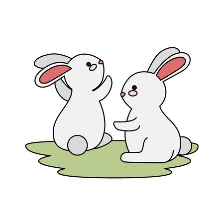 cute and little rabbits couple in grass characters vector illustration design Stock Illustratie