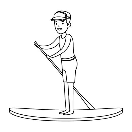 happy athletic boy practicing surf sport vector illustration design