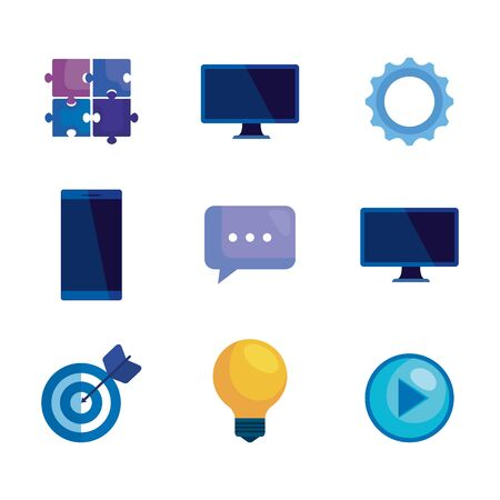 set of technology media icons to business strategy over white background, vector illustration