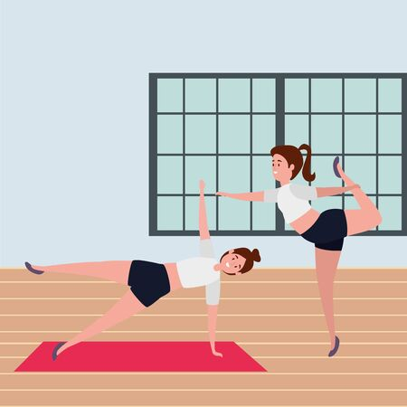 beauty girls couple practicing pilates position in the gym vector illustration design