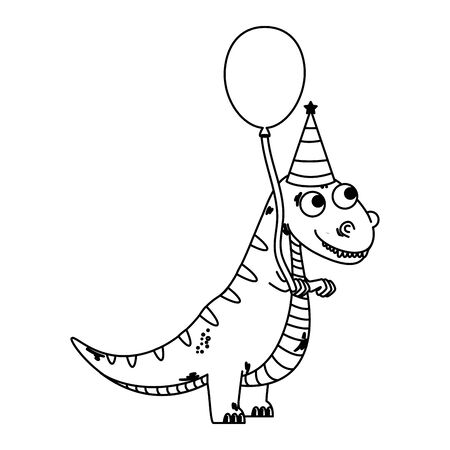 cute tyrannosaurus rex with balloon helium vector illustration design 일러스트