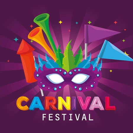 carnival mask with feathers and flags decoration with trumpet vector illustration