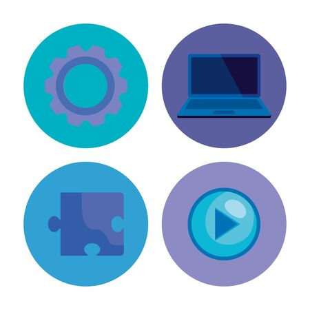 set of gear with laptop technology and puzzle with video over white background, vector illustration