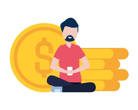 man with smartphone and coins avatar character vector illustration desing