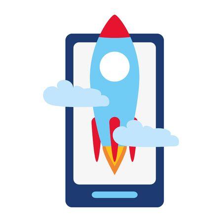 smartphone rocket start business success vector illustration Illustration