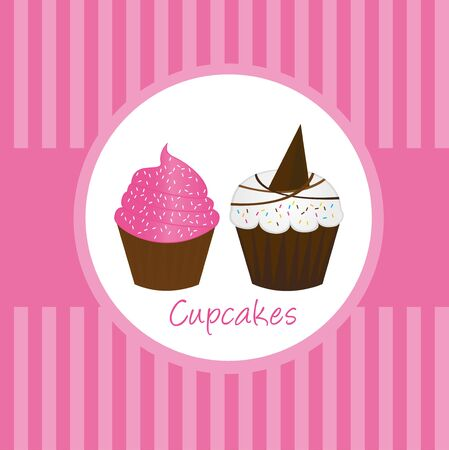 pink cute cup cakes over pink background. vector Stock Illustratie