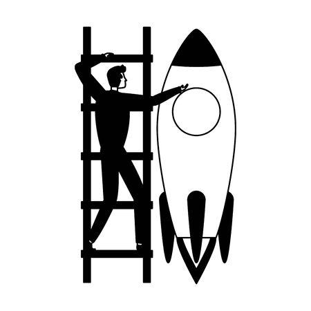 businessman climb ladders rocket business success vector illustration Standard-Bild - 128830181